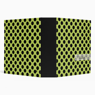Monogram Green Black Cute Chic Polka Dot Pattern Binder