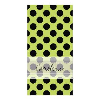 Monogram Green Black Cute Chic Polka Dot Pattern Card