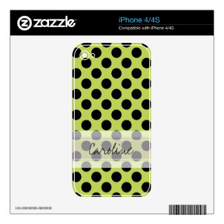 Monogram Green Black Cute Chic Polka Dot Pattern Decals For iPhone 4