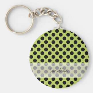 Monogram Green Black Cute Chic Polka Dot Pattern Keychain