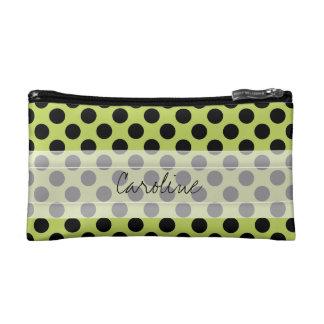 Monogram Green Black Cute Chic Polka Dot Pattern Makeup Bag