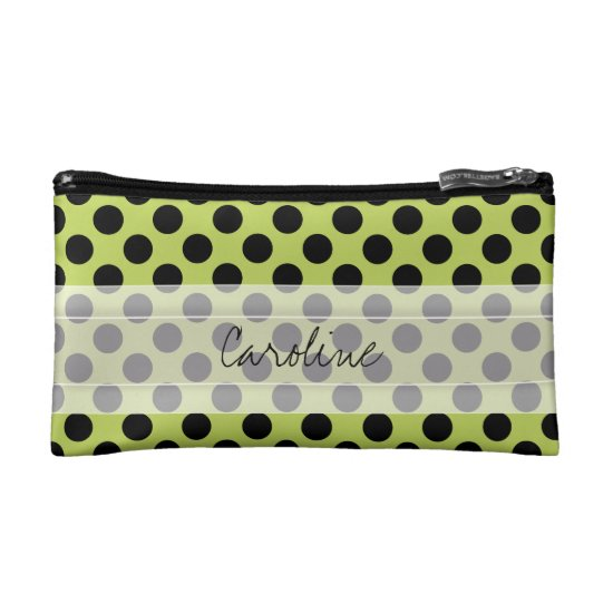 Monogram Green Black Cute Chic Polka Dot Pattern Makeup Bag