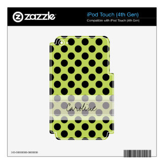 Monogram Green Black Cute Chic Polka Dot Pattern Skin For iPod Touch 4G