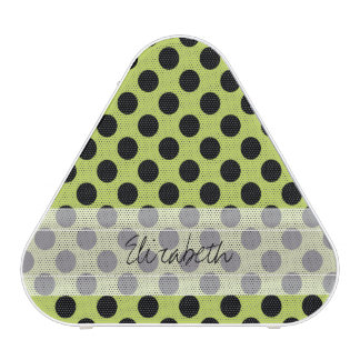 Monogram Green Black Cute Chic Polka Dot Pattern Speaker
