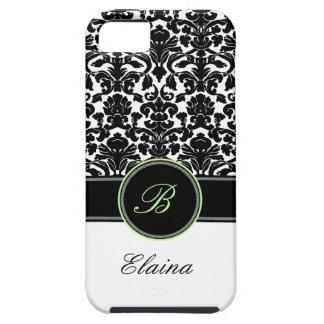 Monogram Green, Black, White Damask iPhone 5 Case