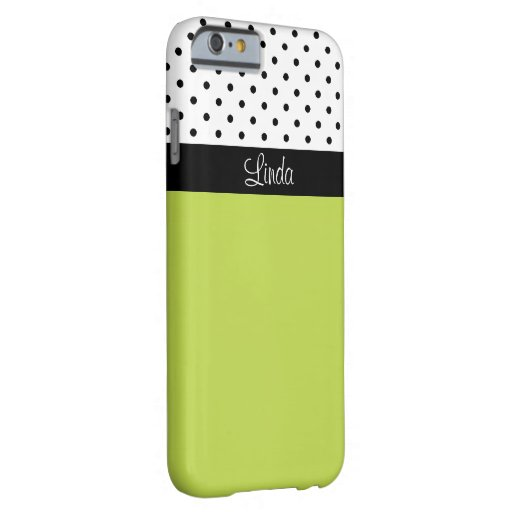 Monogram Green, Black White Polka Dots Color Block Barely There iPhone 6 Case