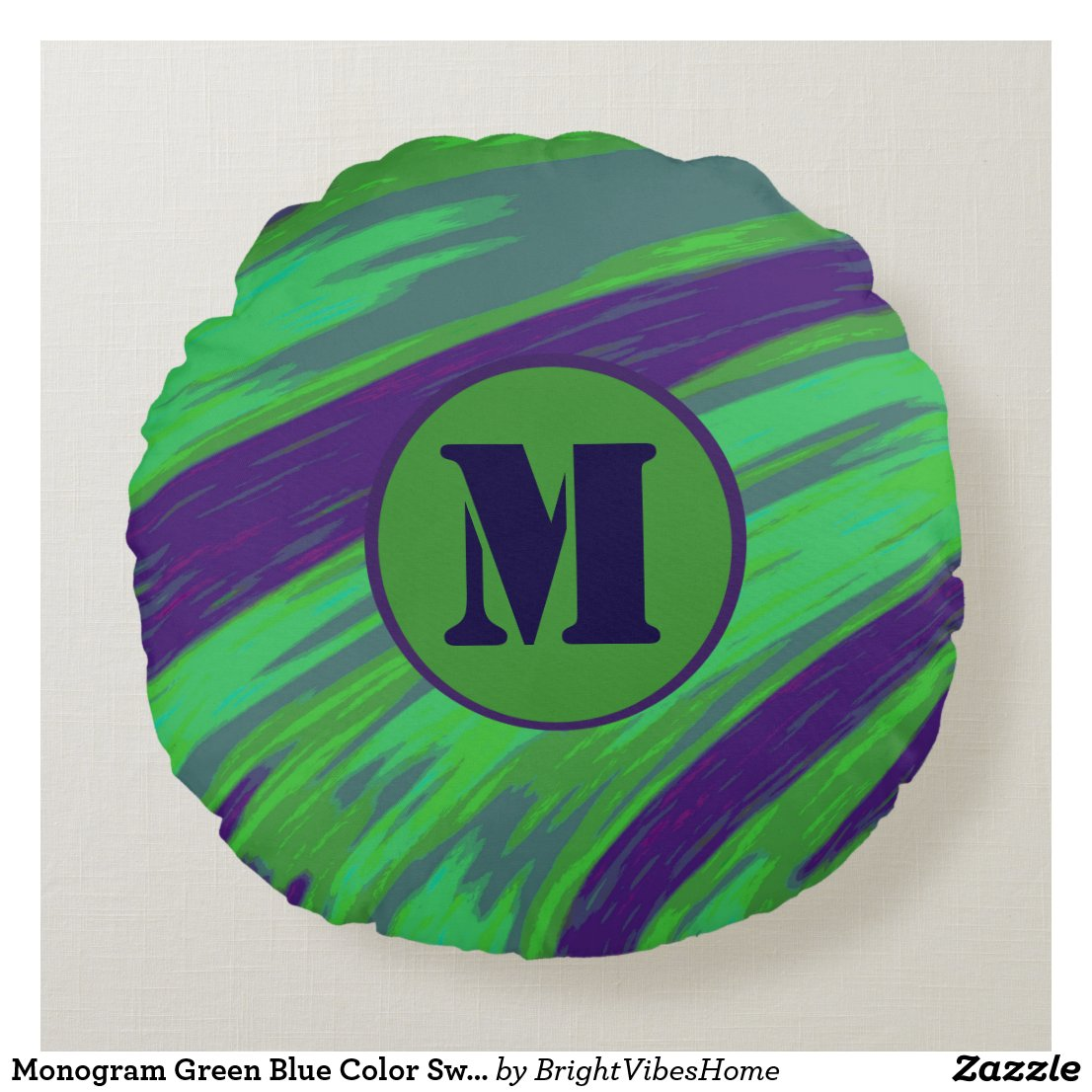 Monogram Green Blue Color Swish Round Pillow