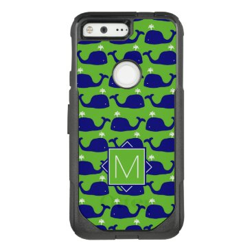 Beach Themed Monogram | Green & Blue Whales OtterBox Commuter Google Pixel Case