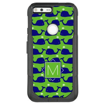 Beach Themed Monogram | Green & Blue Whales OtterBox Commuter Google Pixel XL Case