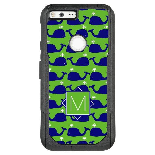 Monogram   Green & Blue Whales OtterBox Commuter Google Pixel XL Case