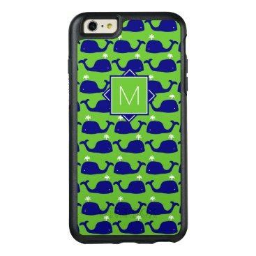 Beach Themed Monogram | Green & Blue Whales OtterBox iPhone 6/6s Plus Case