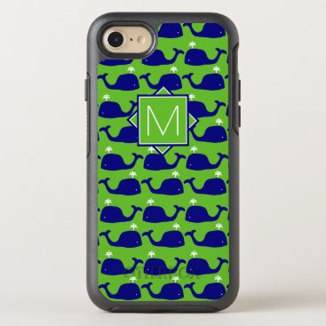 Beach Themed Monogram | Green & Blue Whales OtterBox Symmetry iPhone 7 Case