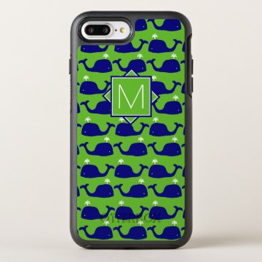 Beach Themed Monogram | Green & Blue Whales OtterBox Symmetry iPhone 7 Plus Case