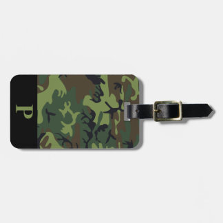 Monogram Green Brown Black Camo Camouflage Black Bag Tag