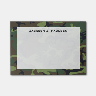 Monogram Green, Brown, Black Camouflage Post-it® Notes