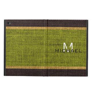 Monogram Green Burlap Linen Rustic Jute Powis iPad Air 2 Case