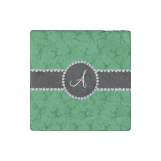 Monogram green cheerleading black circle stone magnet