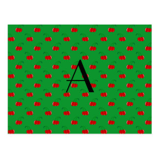 Monogram green cherry pattern postcard