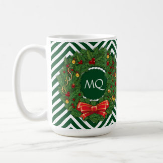 Monogram Green Chevrons & Pine Wreath w/ Ribbon Coffee Mug