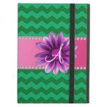 Monogram green chevrons pink daisy iPad cover