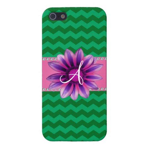 Monogram green chevrons pink daisy iPhone 5 case