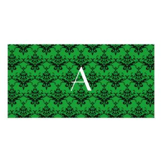 Monogram Green damask Photo Card