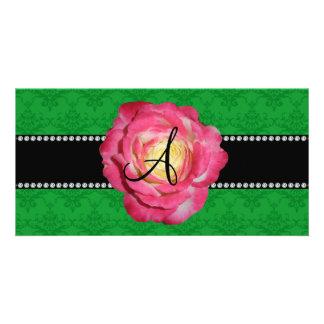 Monogram green damask pink rose photo card