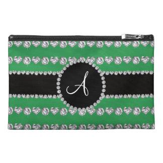 Monogram green diamond hearts stripes travel accessories bags