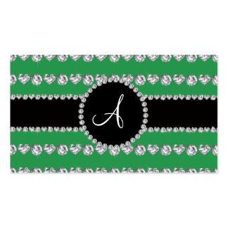 Monogram green diamond hearts stripes business card template