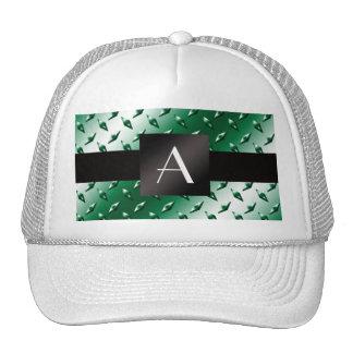Monogram green diamond steel plate pattern mesh hats