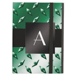 Monogram green diamond steel plate pattern iPad air covers