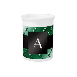 Monogram green diamond steel plate pattern pitchers
