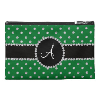 Monogram green diamonds polka dots travel accessory bags