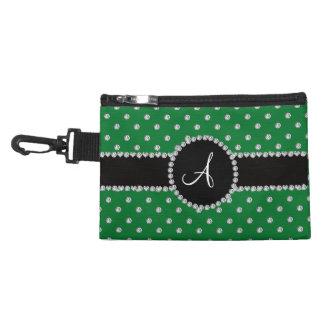 Monogram green diamonds polka dots accessories bags