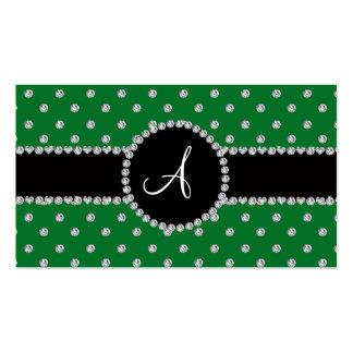 Monogram green diamonds polka dots business card