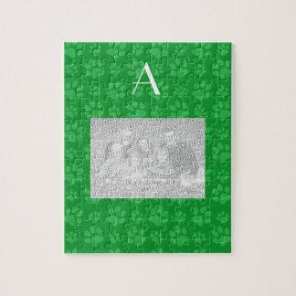 Monogram green dog paw prints jigsaw puzzle