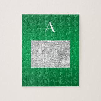 Monogram green dog paw prints jigsaw puzzles