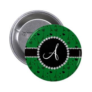 Monogram green eiffel tower pattern 2 inch round button