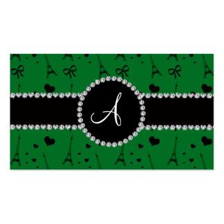Monogram green eiffel tower pattern business card template