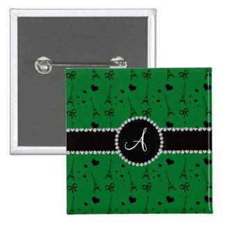 Monogram green eiffel tower pattern 2 inch square button
