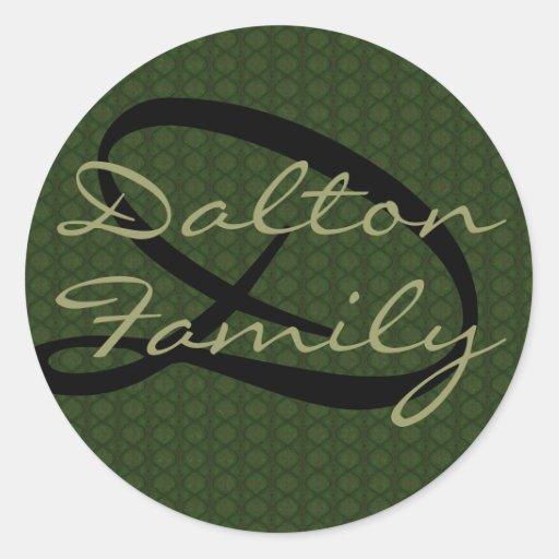 Monogram Green (Family) Seal Stickers