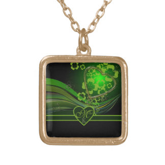 Monogram Green Floral Gold Heart Wave Flourish Jewelry