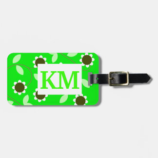 Monogram Green Floral Tag For Luggage