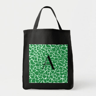 Monogram green giraffe print tote bag
