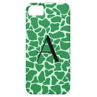 Monogram green giraffe print iPhone 5 cover