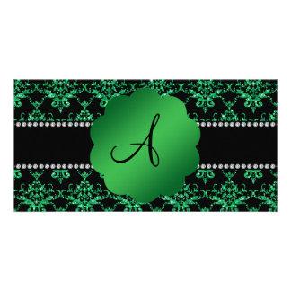 Monogram green glitter damask photo card