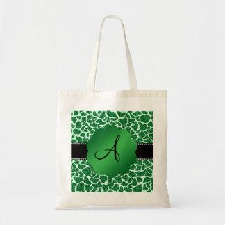 Monogram green glitter giraffe print bags