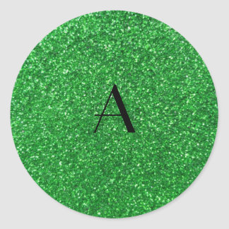 monogram green glitter round stickers