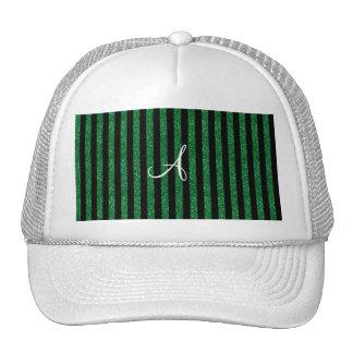 Monogram green glitter stripes hat
