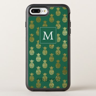 monogram_bouquet Monogram   Green & Gold Pineapples OtterBox Symmetry iPhone 7 Plus Case